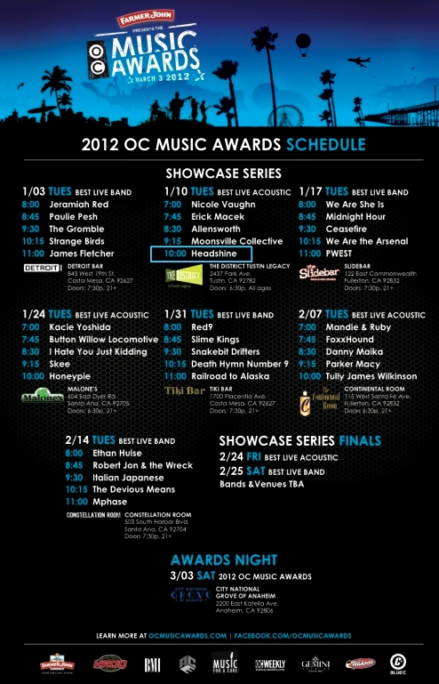 "Headshine perfoms at The OC Music Awards for ""best live acoustic"" on Jan. 10, 2012 @ The District in Tustin."