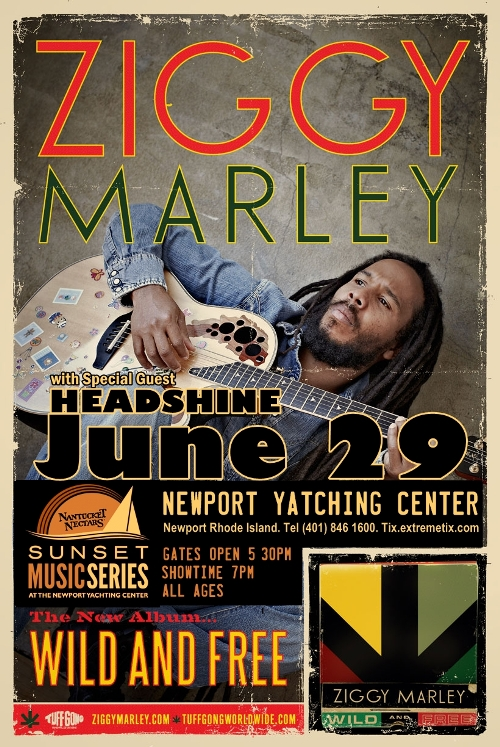 June 29 - Headshine opens for Ziggy Marley @ Mt. Laurel Performing Arts Center in Newport Yatching Center in Newport Rhode Island at 7pm!
