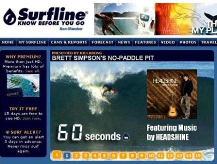 SurflineTV features surf video with US Open surf champion Brett Simpson and new music by HEADSHINE. -Click to watch!